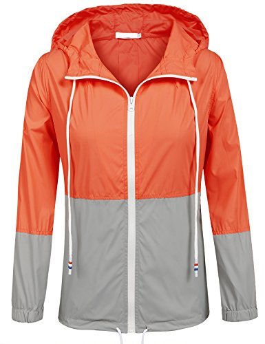 (SoTeer Womens Lightweight Hooded Waterproof Active Outdoor Rain Jacket (Orange/Gray L))