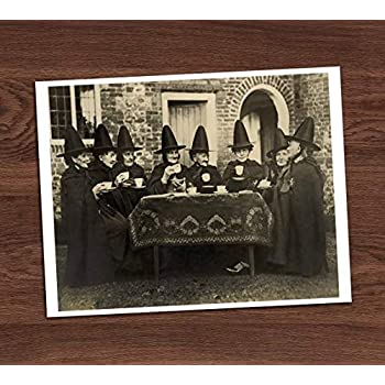 7d305ed3dd1c Witches Group Tea Party Vintage Photo Art Print 8x10 Wall Art Halloween  Costumes