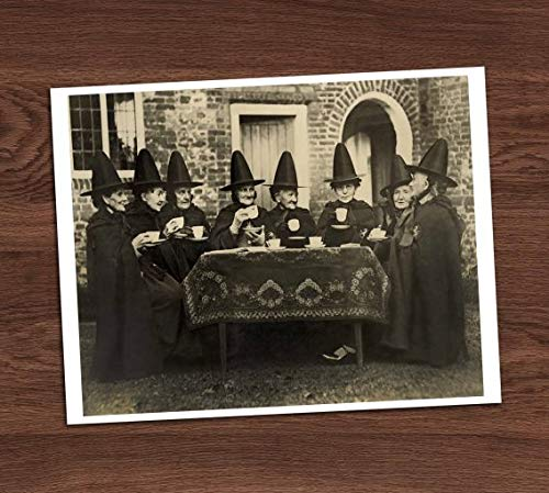 Witches Group Tea Party Vintage Photo Art Print 8x10 Wall Art Halloween Costumes ()
