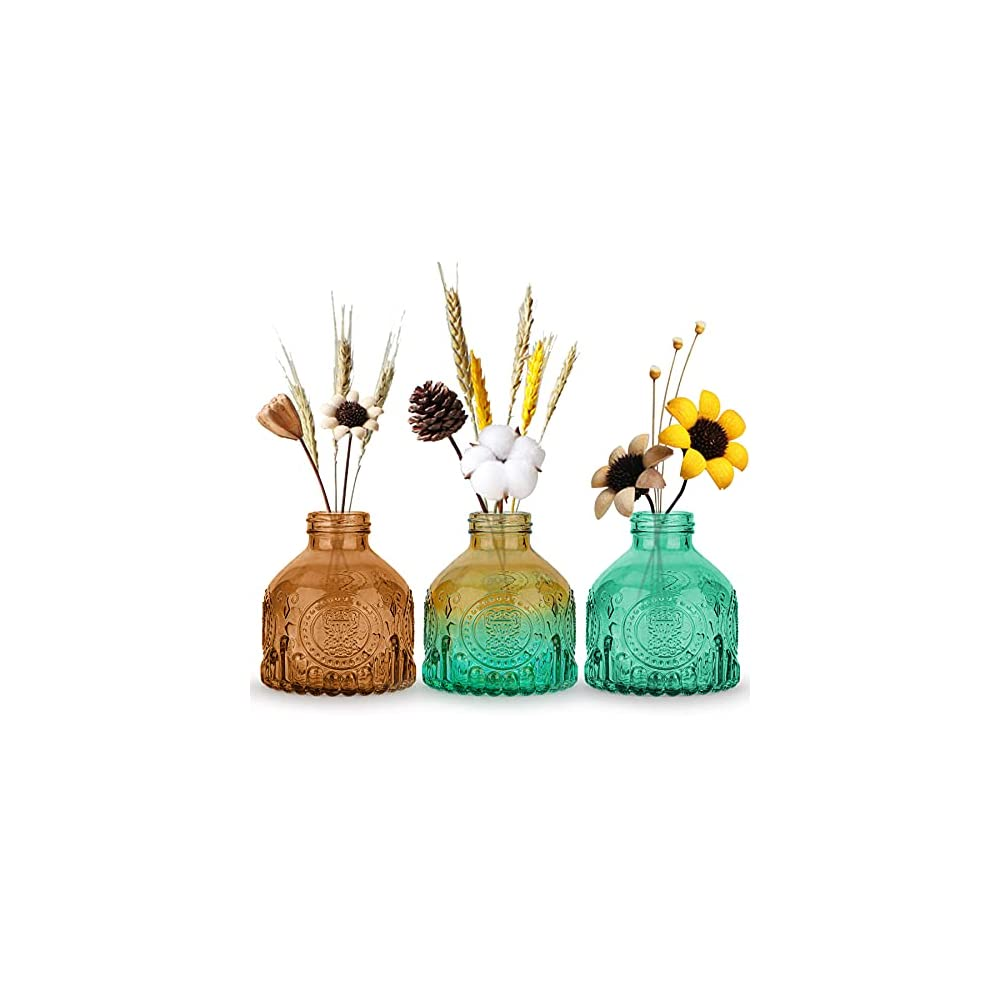 OppsArt Glass Bud Vases for Decor Set of 3, Small Colorful Decorative Vases for Farmhouse Fireplace, Modern Centerpiece…