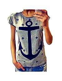 M-Egal Women T Shirt Plus Size Casual Letter Print Anchor Tops Cotton Short Sleeve T Shirt