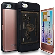 iPhone SE Case, TORU [iPhone SE Wallet Case Rose Gold] Protective Slim Fit Dual Layer Hidden Credit Card Holder ID Slot Card Case with Mirror for iPhone SE / iPhone 5S / iPhone 5 - Rose Gold