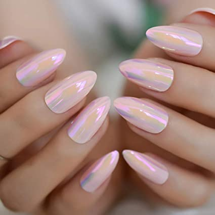 24 espejos metálicos rosa brillante falsos Stilettos Nail ...