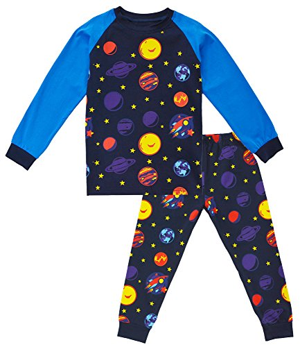 KISBINI Toddler Boys' Cartoon Cotton Pj Pjs Pajama Sets Corlorful-Planets 5T