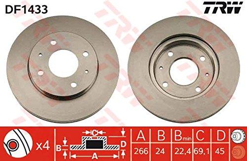 Genuine TRW Vented Brake Discs - Part Number DF1433: