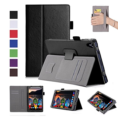 - ISIN Premium PU Leather Case Stand Cover for Lenovo Tab3 8 Plus TB-8703F TB-8703N TB-8703X 8.0-inch Android Tablet PC with Hand Strap, Stylus Holder and Card Slots (Black)