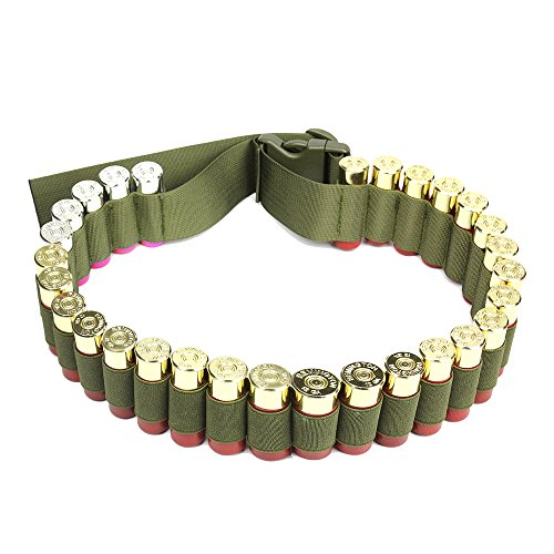 Shotgun Shell Bandolier Belt 12/20 Gauge Ammo Holder for Tactical Military Hunting(29 Rounds, 51.2'' x 1.98'') Olive Drab