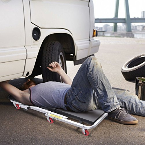Goplus 40'' Foldable Z Creeper Seat Rolling Chair Mechanics Garage 2 in 1 Work Stool, 450-lb Capacity by Goplus (Image #2)