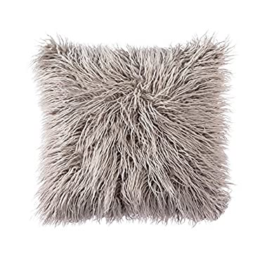 OJIA Deluxe Home Decorative Super Soft Plush Mongolian Faux Fur Throw Pillow Cover Cushion Case (18 x 18 Inch, Grey)
