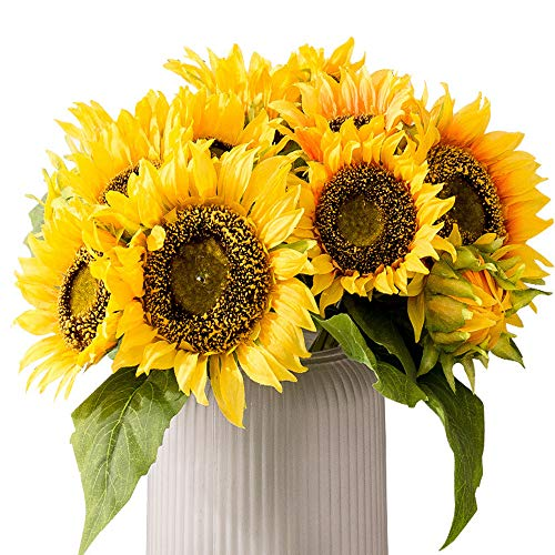 HEBE 2 Pack Artificial Flowers Sunflower Bouquet Arrangement Artificial Sunflowers Decor Fake Sunflower with Stems Leaves for Home Wedding Decor