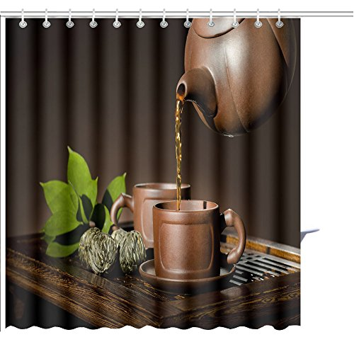 - MuaToo Shower Curtain Horizontal Photo of The Clay teapot Tea Flow in Cup on Brown Background Tea Ceremony Graphic Print Polyester Fabric Bathroom Decor Sets with Hooks 36 x 78 Inches