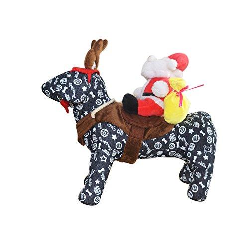 Dog Christmas Costume Xmas Costume Santa Claus with Reindeer Antlers Headband Santa Suit by DELIFUR (M) -