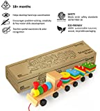 Boxiki kids Wooden Toys Stacking Train Blocks, Pull Toy Promotes Baby Development. Educational Toys for Toddlers with 20 Wooden Shapes and 1 Train Toy Ecological Safe Play Toys