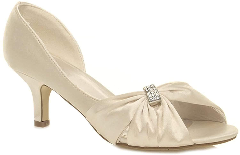 WOMENS LADIES LOW HEEL DIAMANTE PEEP TOE SPARKLY PARTY WEDDING BRIDAL SHOES 3-8