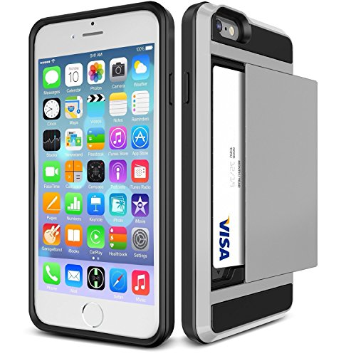 iPhone 6 & 6S Case Impact Resistant [HARD SHELL] Hybrid Bumper Cover [HEAVY DUTY] Drop & Shockproof Wallet Sliding Credit Card Slot for iPhone 6 & 6S (4.7'') by VANGUARD CASES® (Sterling Silver)