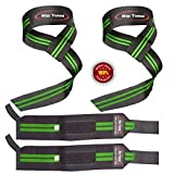 Lifting Straps + Wrist Wraps Bundle (1 PAIR of Each) by Rip TonedBonus Ebook for Weightlifting, Xfit, Workout, Gym, Powerlifting, Bodybuilding - Lifetime Replacement Warranty!