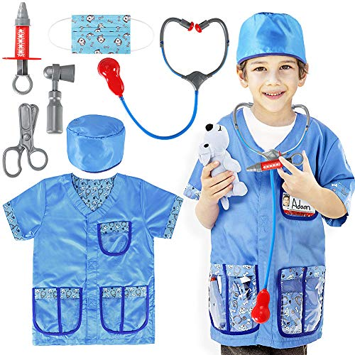 Doctor Who Themed Halloween Costumes (12 PCS Veterinarian Costume Role Play Halloween Pretend Dress up Medical Accessories Set for Kids)