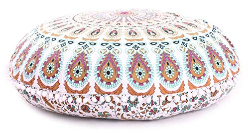 "32"" Puff Brown White Mandala Floor Pillow Cushion Seating Throw Cover Hippie Decorative Boho Peacock Feather Multi Colorful New Pattern Home Dorms Living Room Bedroom Decoration Pouf Pom Pillows Case"