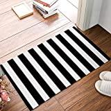 black and white kitchen Black And White Stripes Fabric Door Mat Rug Indoor/Outdoor/Front Door/Shower Bathroom Doormat, Non-slip Doormats, 18-Inch by 30-Inch
