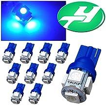 YINTATECH 10 PCS T10 Wedge 5-SMD 5050 Blue LED Light bulbs W5W 2825 158 192 168 194(DC 12V)