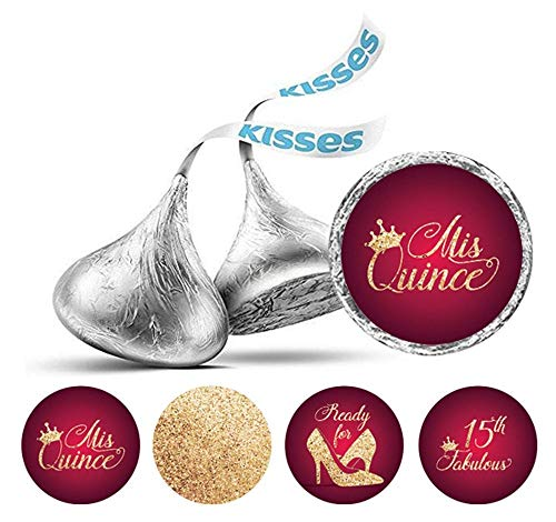 CARAPOLLY Quinceanera 15 Birthday Candy Stickers, Round Candy Label, Party Gift, Hershey's Kisses Candy Label, Wrapper Favors Sticker PDS-KS59