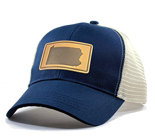 (Homeland Tees Men's Pennsylvania Leather Patch Trucker Hat - Blue )