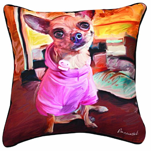 Bella Square Pillow - Manual Chihuahua Bella Paws and Whiskers Decorative Square Pillow, 18-Inch