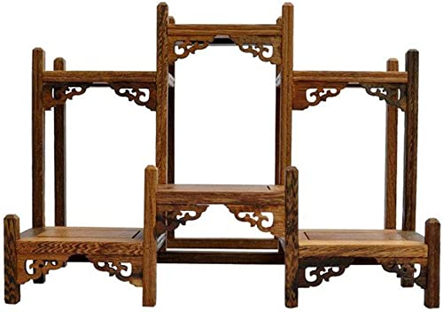 NWFashion Chinese Wooden Assemble Display Stand Symmetric Short Floor Curio Cabinets Shelf 1
