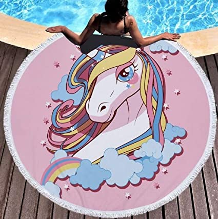 Flamingo Bonut Unicorn Beach Towel Thick Circle Microfiber Round Beach Towel Unicorn Print Shower Bath Towels