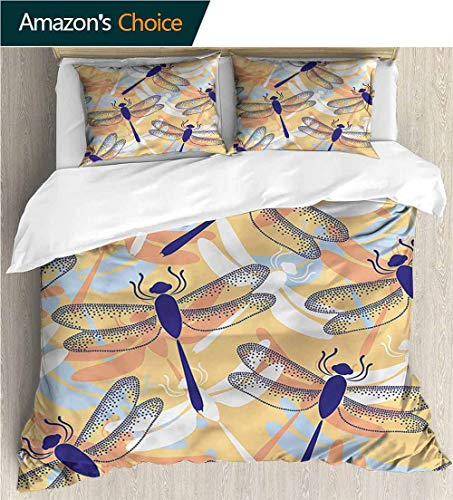 Home Duvet Cover Set,Box Stitched,Soft,Breathable,Hypoallergenic,Fade Resistant Print Quilt Cover Set White Queen Pattern Bedding Collection-Dragonfly Dragonfly Pattern Boho (104