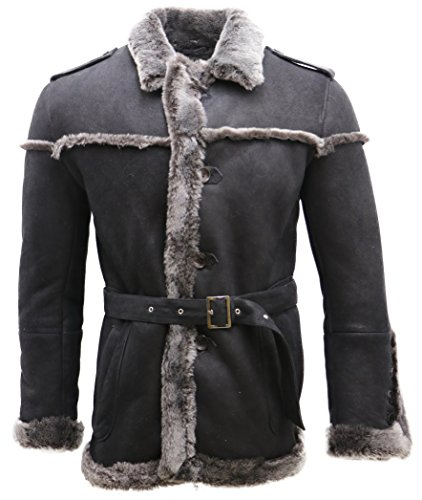 Black Leather Merino Shearling Jacket - Infinity Men's Merino Black Snowtip Sheepskin Suede Jacket with Tie Belt 2XL