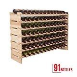 91 bottles solid display shelves wood wine rack stackable holder storage 7 tier