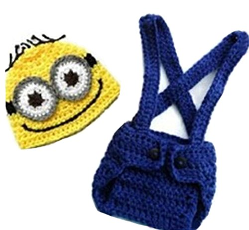 Minions Outfit For Baby (CX-Queen Baby Photography Prop Crochet Despicable Me Minion Beanie Hat Overalls)