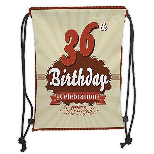 New Fashion Gym Drawstring Backpacks Bags,36th Birthday Decorations,Birthday Celebration Invite Chocolate Wrap Like Image,Cinnamon and Brown Soft Satin,Adjustable String ()