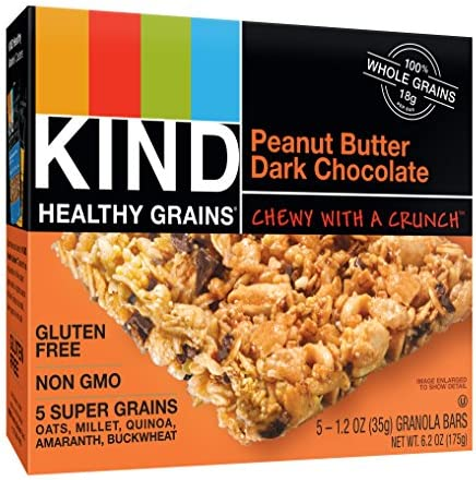 KIND Healthy Grains Bars, Peanut Butter Dark Chocolate, Non GMO, Gluten Free, 1.2 oz, 5 Count