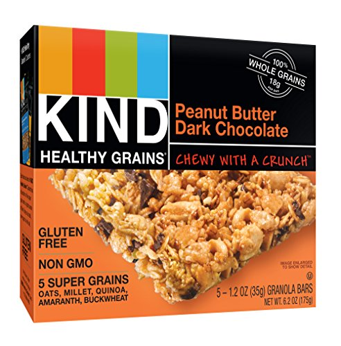 Bars, Peanut Butter Dark Chocolate, Non GMO, Gluten Free, 1.2 oz, 5 Count (6 Pack) ()