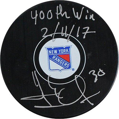 Henrik-Lundqvist-Signed-New-York-Rangers-Logo-Puck-w-400th-Win-Insc