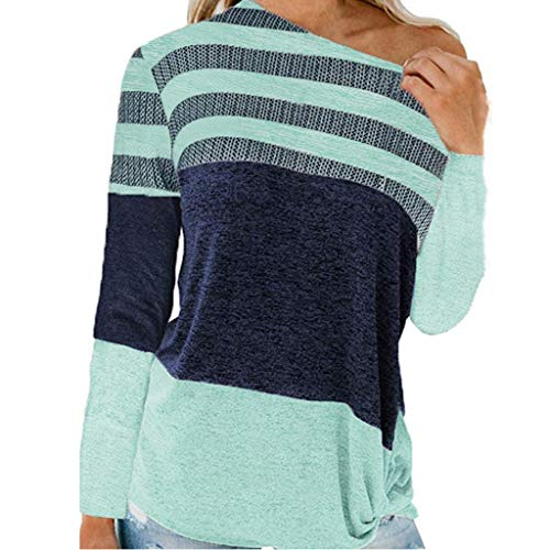 Women's Long-Sleeved Pullover Sweatshirt, Casual Colorblock Patchwork Tunic Tops o Neck Loose Sexy Contrast Knotted Sweater t-Shirt