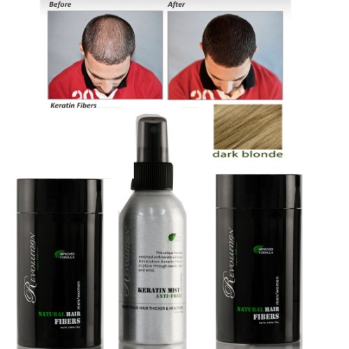Revolution Natural 2 Dark Blonde Hair Fibers + Hold Spray + Brilliance Comb by Revolution