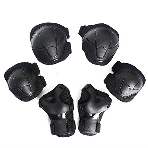 (Popo Rabbit Multi-Sport Kids Knee Elbow Wrist Protective Pads for Bike Cycling Skateboarding Skating Rollerblading and Other Extreme Sports Activities Toddler Kids Child age 3-5 5-8 (Black))