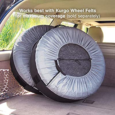 Kurgo Seasonal Tire Tote | Spare Tire Cover | Portable Wheel Bags | Winter Tire Cover | Eco-Friendly Tire Totes | Handle for Easy Transportation | Universal Fit: Automotive