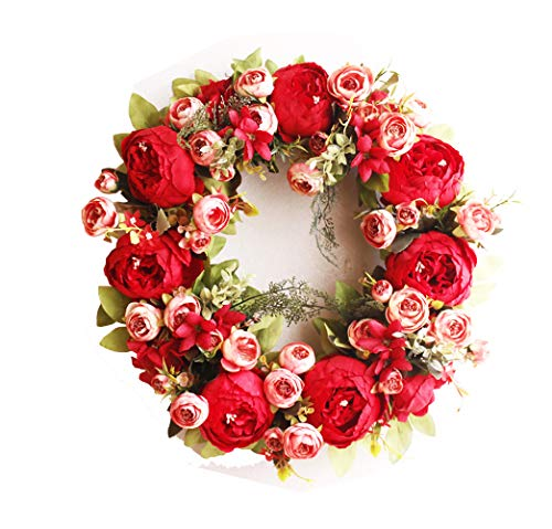 Yokoke Peony Wreath Rose Floral Twig Wreath 16 Inch Handmade Vintage Artificial Flowers Garland Front Door Wreath Beautiful Silk For Spring And Summer Wreath Display (red) ()