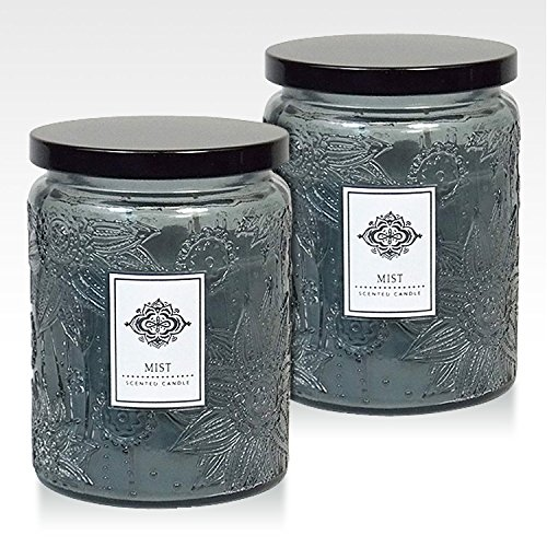 Dynamic Collections Aromatherapy Scented Candles - Great for Minimalistic Home Decor, Stress Relief, and Gift Set of Two 16 ounce Mason Jar Candles (MIST)