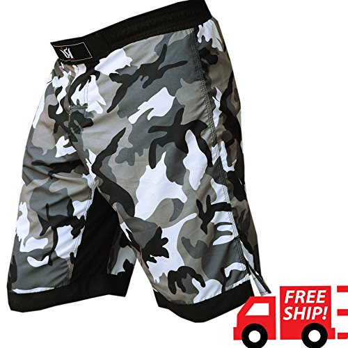 ISH Sports MMA Kick Boxing Fight Shorts Grappling Muay Thai UFC Cage Fighting Short Kick Boxing Martial Art Training Clothing Uniform (Large (Split Seam Fight Shorts)