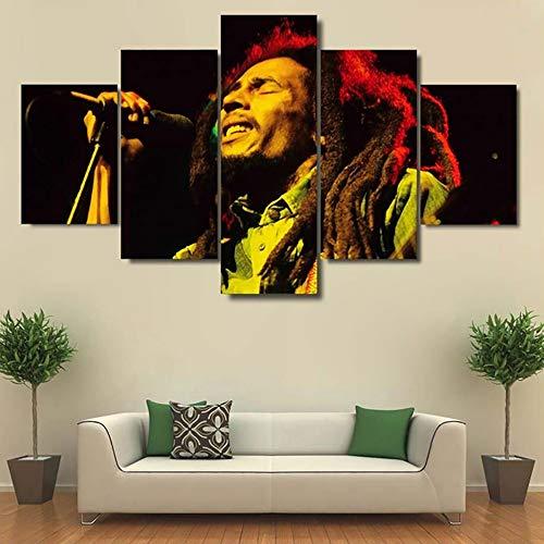 (HTT& Wall Art 5 Panels Poster Artwork Prints On Canvas Singer Bob Marley Canvases Printed for KTV Decor,A,30x40x2+30x60x2+30x80x1)