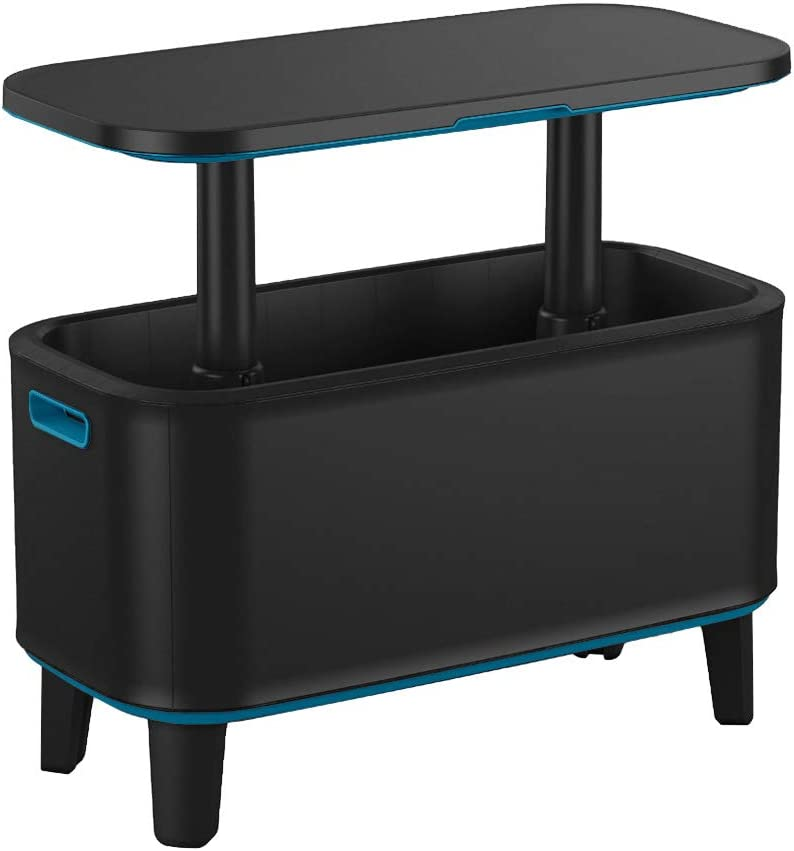 Keter Breeze Bar Outdoor Patio Furniture and Hot Tub Side Table with 14.8 Gallon Beer and Wine Cooler, Dark Grey & Teal