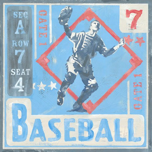 Oopsy Daisy Game Ticket Baseball by Roger Groth Canvas Wall Art, 14 by 14-Inch