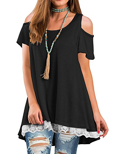 QIXING Women's Summer Cold Shoulder Tops Short Sleeve Lace Scoop Neck A-Line Tunic Blouse