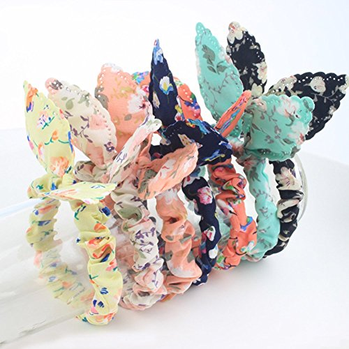 Korean Tie (Lovef Korean Style 10x Cute Girls floral Rabbit Ear Hair Tie Bands Ropes Ponytail Holder)