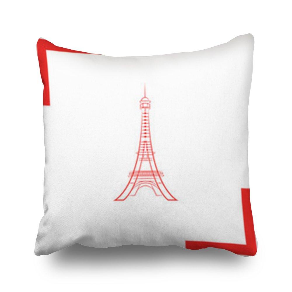 Amazoncom Throw Pillow Covers Eiffel Tower Paris Symbols Square